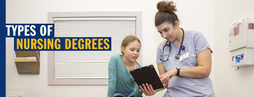 A nurse explains the types of nursing degrees to a young patient?